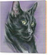 Black Cat Sith Wood Print