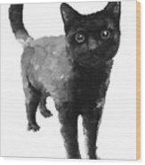 Black Cat Watercolor Painting  Wood Print