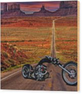 Black Chopper At Monument Valley Wood Print