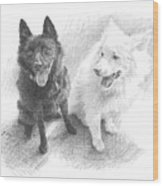 Black Dog White Dog Drawing Wood Print