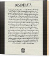 Black Border Sunburst Desiderata Poem Wood Print