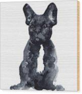 Black French Bulldog Watercolor Poster Wood Print