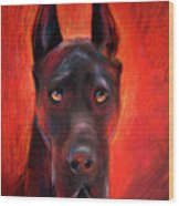 Black Great Dane Dog Painting Wood Print