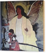 Black Guardian Angel Mural Wood Print