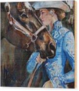 Black Horse And Cowgirl   Wood Print