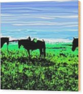 Black Horses ... Montana Art Photo Wood Print