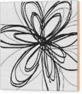 Black Ink Flower 1- Art By Linda Woods Wood Print