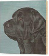Black Labrador Dog Profile Painting Wood Print