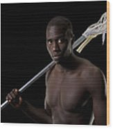 Black Lacrosse Player Wood Print