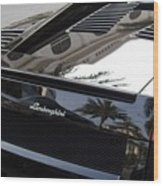 Black Lamborghini Sports Car  Wood Print