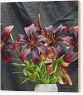 Black Lilies Wood Print