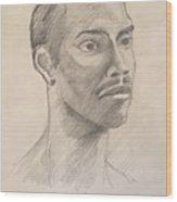 Black Man With Earing Wood Print