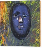 Black Mask Wood Print