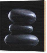 Black Meditation Stones Wood Print