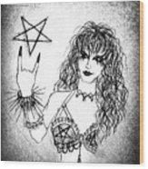 Black Metal Girl. Sofia Metal Queen. Sketch  Wood Print
