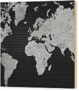 Black Metal Industrial World Map Wood Print
