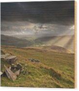 Black Mountains Light Rays Wood Print