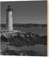 Black N White-portsmouth Harbor Lighthouse Wood Print