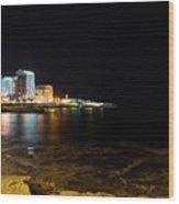 Black Night Bright Lights - Sliema Famous Waterfront Wood Print