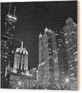 Black Night In The Windy City Wood Print