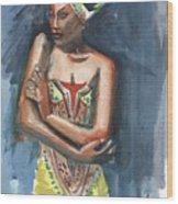 Black On Blue Wood Print