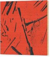 Black On Red Wood Print