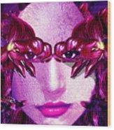 Black Orchid Eyes Wood Print
