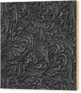 Black Paper Floral Seamless Pattern Wood Print