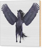Black Pegasus On White Wood Print