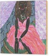 Black Peony Wood Print