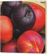 Black Plums And Nectarines In A Wooden Bowl Wood Print