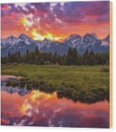 Black Ponds Sunset Wood Print