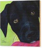 Black Puppy - Shelter Dog Wood Print