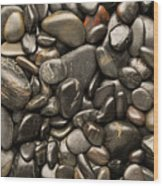 Black River Stones Portrait Wood Print by Steve Gadomski