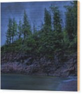 Black Rocks, Dark Sky Wood Print