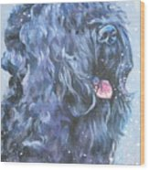Black Russian Terrier In Snow Wood Print