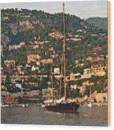 Black Sailboat At Villefranche II Wood Print