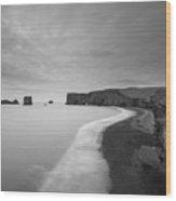 Black Sand Beach Bw Wood Print