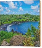 Black Sand Beach - Maui Hi Wood Print