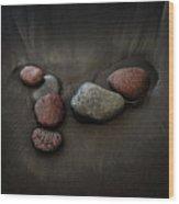 Black Sand Stones Wood Print