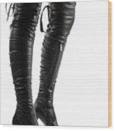Black Sexy Thigh High Stiletto Boots Wood Print