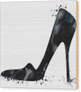 Black Shoe Fashion Watercolor Print  Wood Print