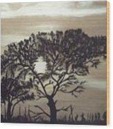Black Silhouette Tree Wood Print