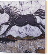 Black Stallion Gallops Over Stones Wood Print