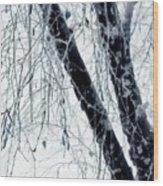 Black Tree White Night Wood Print