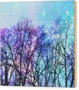 Black Trees Bright Pastel Space Wood Print