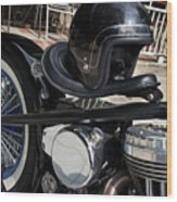 Black Vintage Style Motorcycle With Chrome And Black Helmet Wood Print
