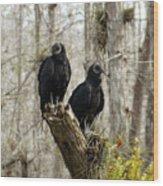 Black Vultures Wood Print