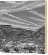 Black White Chem Trails Sky Overton Nevada  Wood Print