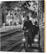 Black White Downtown Sj Trans Wood Print